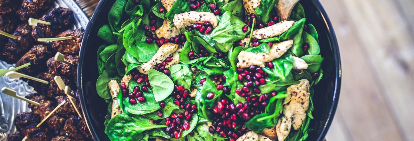 Healthy Salad with Chicken and Pomegranates